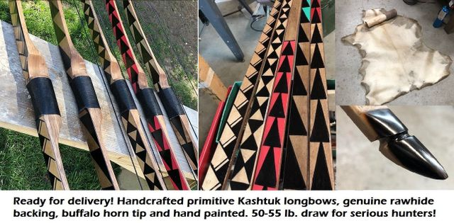 Handmade Primitive Archery Bows and Arrows for Hunting and