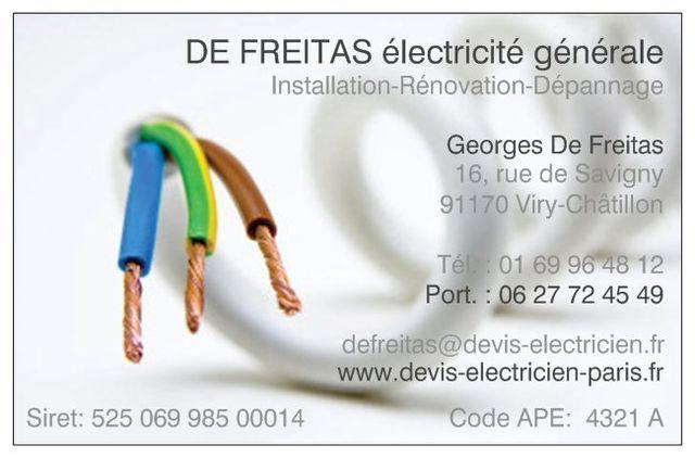 Carte Visite Professionnel Electricien Essonne Paris Installation Renovation
