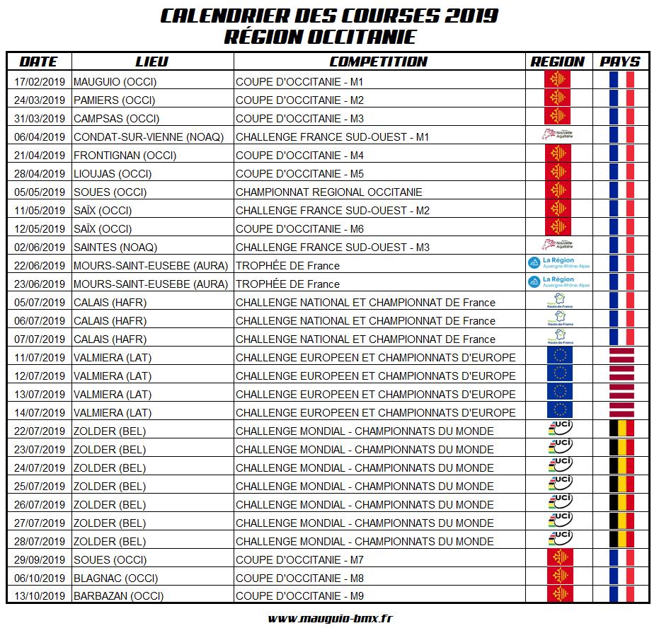 Calendrier Des Courses 2019.Calendrier Bmx Race 2019