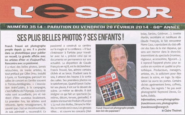 article presse l'essor photographe franck trouvé