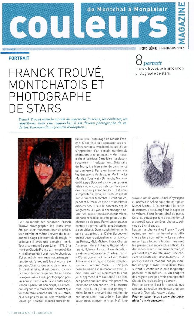 article presse couleurs magazine photographe franck trouvé