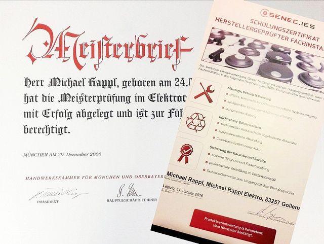 Meisterbrief und SENEC Partner