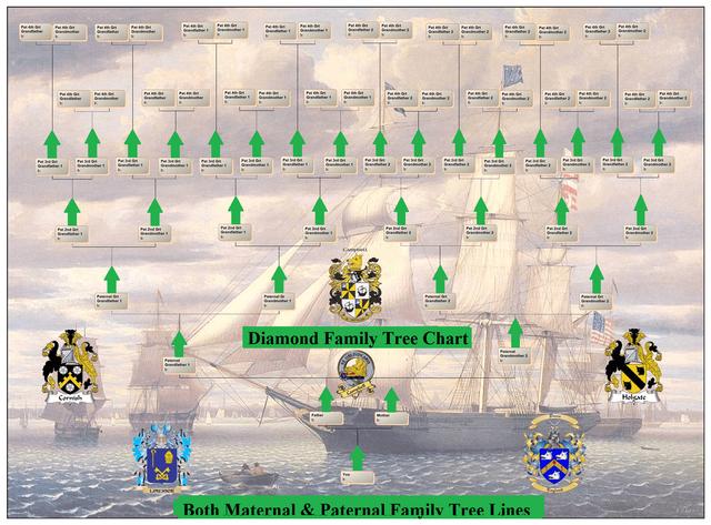 Sample Diamond family tree chart @uk genealogy com