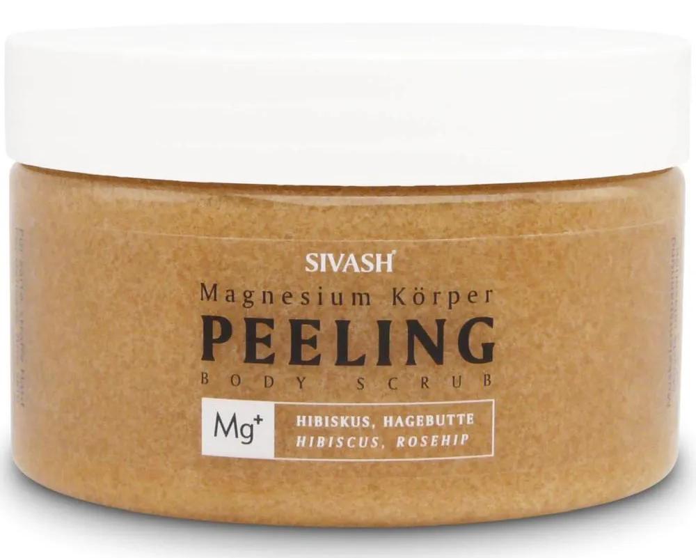 Magnesium Körper Peeling (Body Scrub) mit Hibiskus, Hagebutte, Natriumhyaluronat