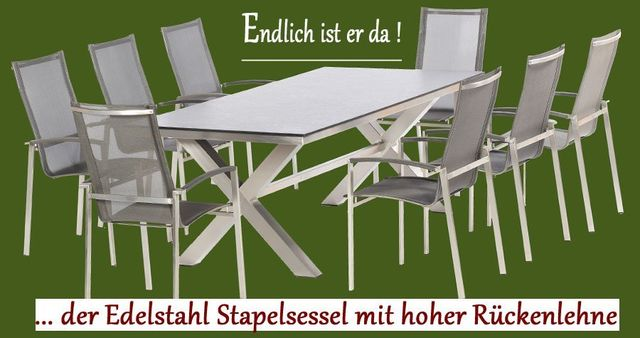 edelstahl gartenm bel in bester qualit t schickem dessin zum top preis. Black Bedroom Furniture Sets. Home Design Ideas