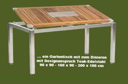 Der Gartentische Tipp Edelstahlgestell Mit Tischplatte Teak Massiv