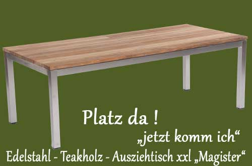 ausziehbarer gartentisch spectra edelstahl teak der. Black Bedroom Furniture Sets. Home Design Ideas