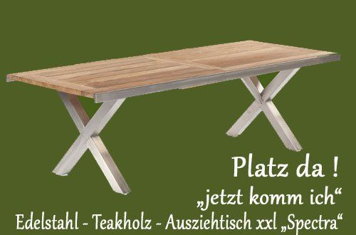 ausziehbarer gartentisch spectra edelstahl teak der marke sonnenpartner. Black Bedroom Furniture Sets. Home Design Ideas
