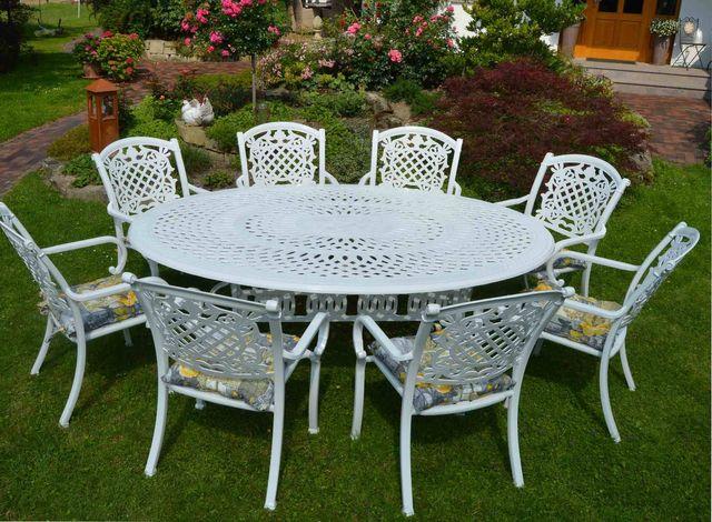 Weiße Aluguss Gartenmöbel haben Stil, sind wetterfest, bequem ...