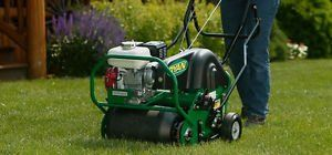 aeration of lawn by hollow tine machine