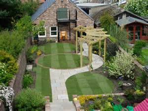 Garden with stripes in lawn