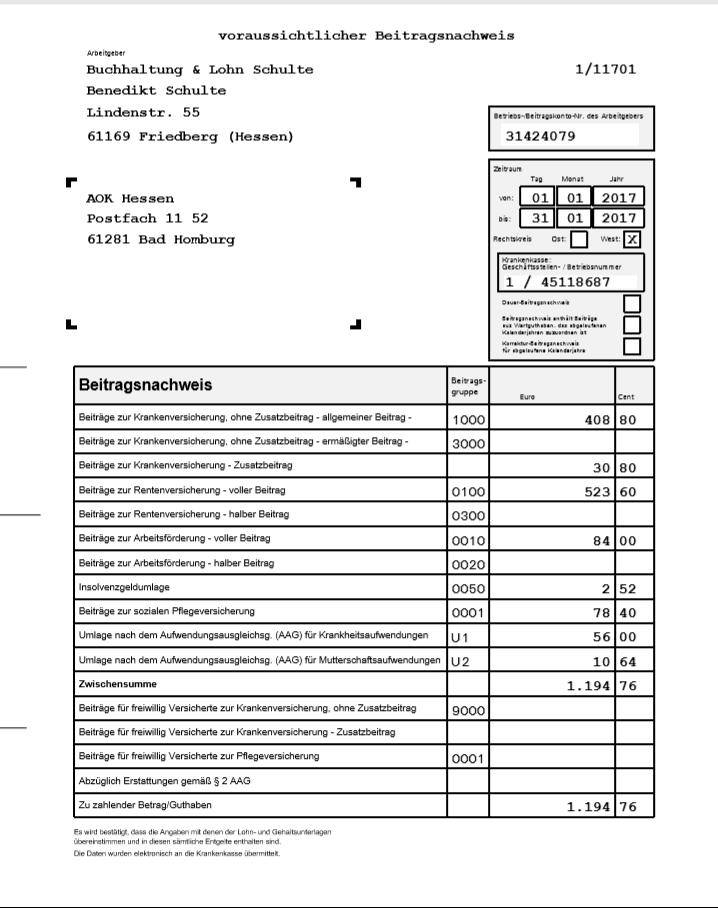 Betriebsnummer Beispiel