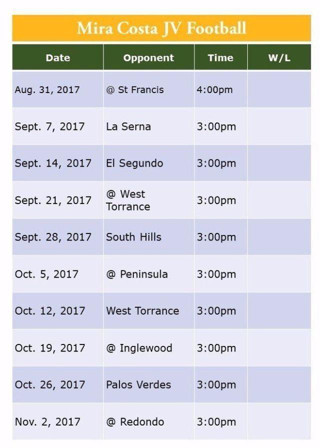 Mira Costa Football JV Game Schedule