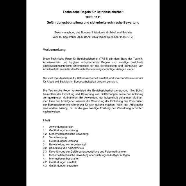 trbs 1111 gefhrdungsbeurteilung und sicherheitstechnische bewertung - Gefhrdungsbeurteilung Muster