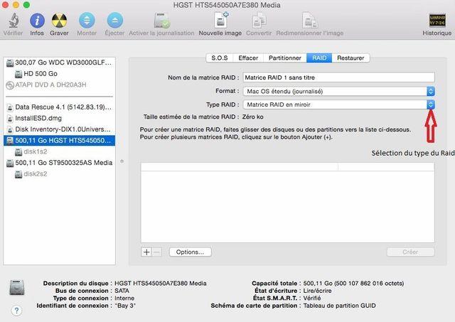 Raid Logiciel Mac - Utilitaire du disque