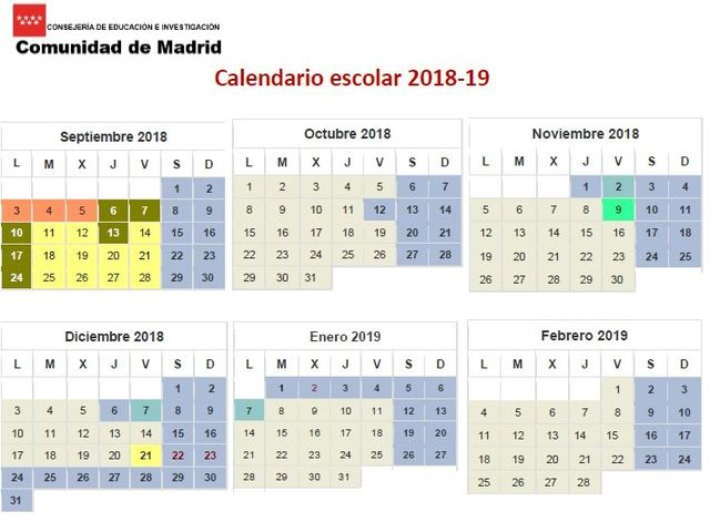 Calendario Academico Madrid.Calendario Escolar 2018 19
