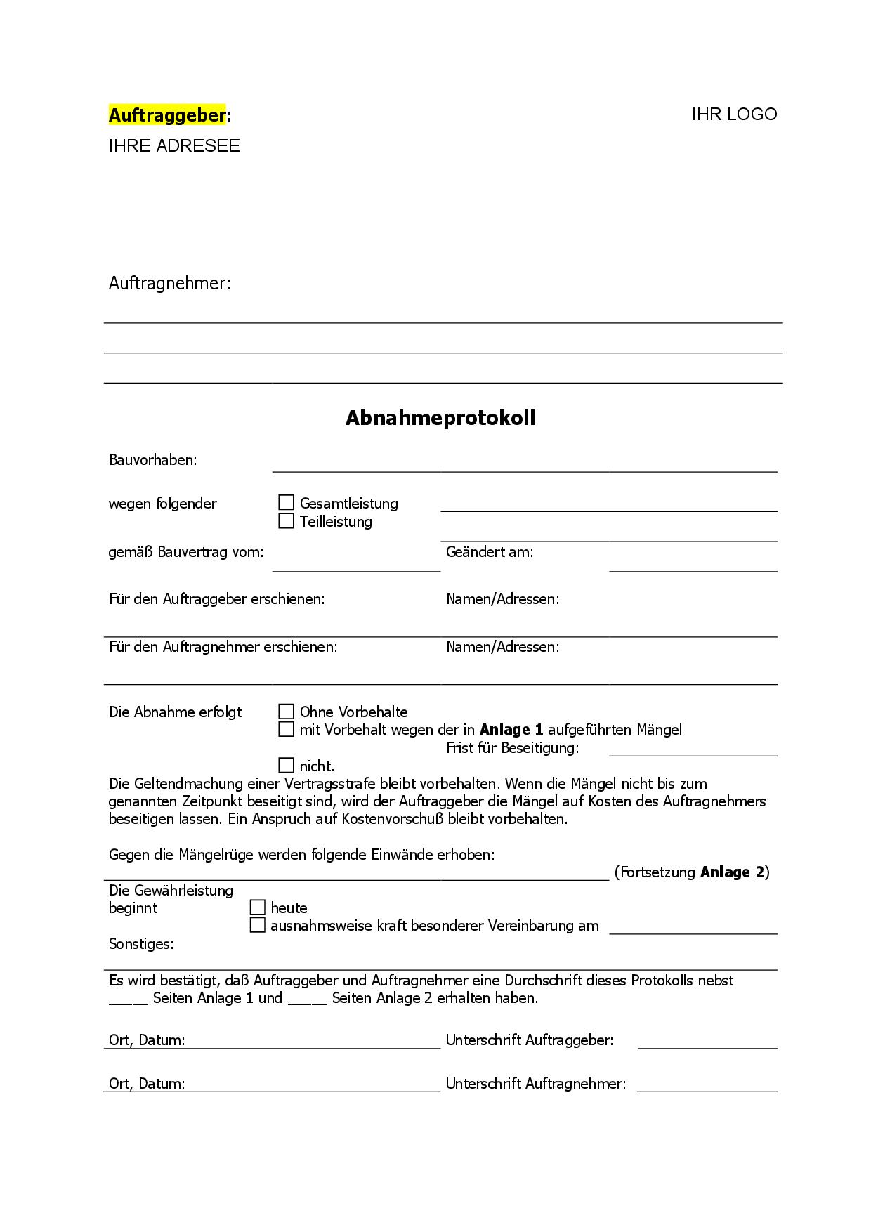 Bauabnahmeprotokoll Gemass 12 Vob B Muster Zum Download