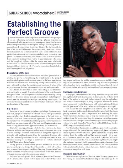 Down Beat Magazine Woodshed Article 2017